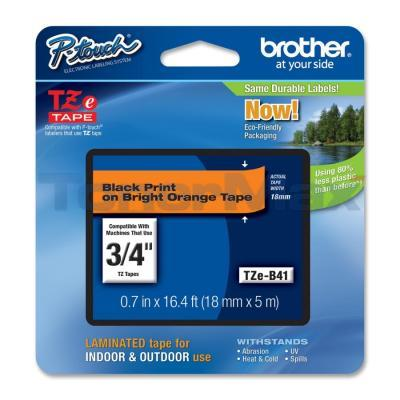 BROTHER TZ LAMINATED TAPE BLACK ON BRIGHT ORANGE 18 MM X 5 M